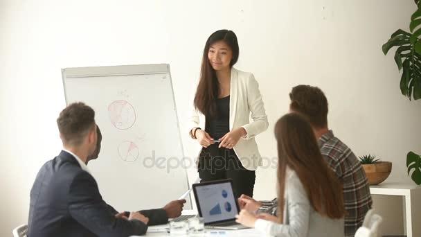 Fotografie Asiatische junge Geschäftsfrau, Vortrag am Flipchart multirassische Geschäftsleuten