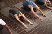 Skupina lidí v podřízené pozici, jogín