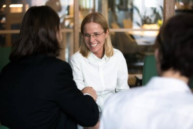Smiling businesswoman shaking hand of businessman at negotiation