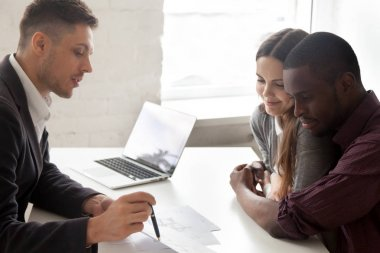Interracial couple considering mortgage or buying house consulti