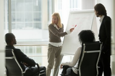 Businesswoman leader or business coach giving presentation to di