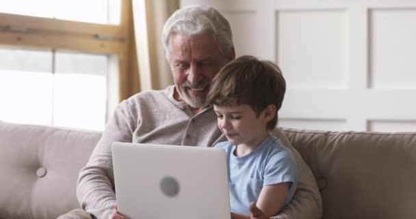 glücklicher alter Opa und Enkel mit Laptop-Videotelefonie