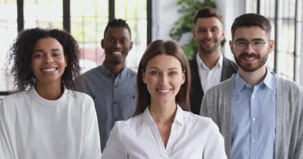 Confident happy diverse business people together in office, corporate portrait