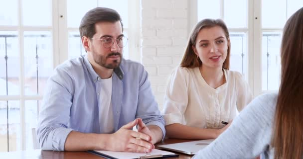 Satisfied hr recruit managers handshake hire female candidate at interview