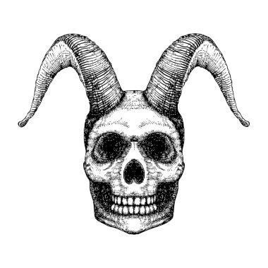 Human skull with goat horns
