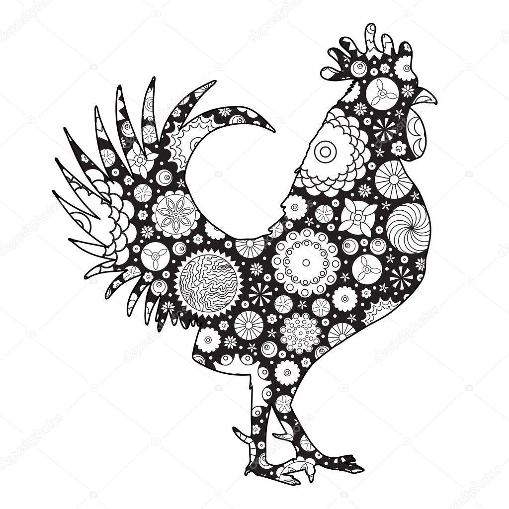 floral decorated rooster u2014 stock vector goldenshrimp 126904790