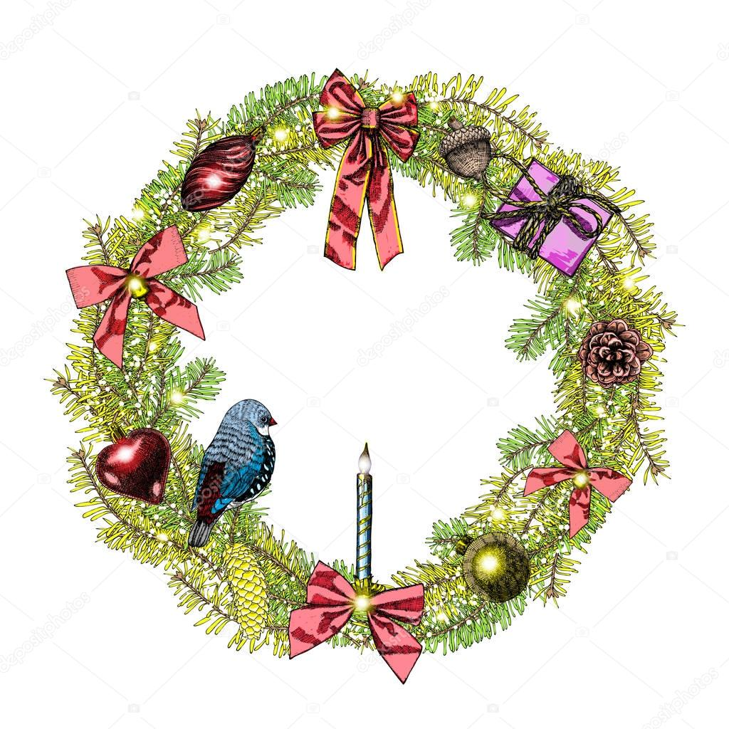 marco de guirnalda de navidad vector de stock - Guirnalda Navidad