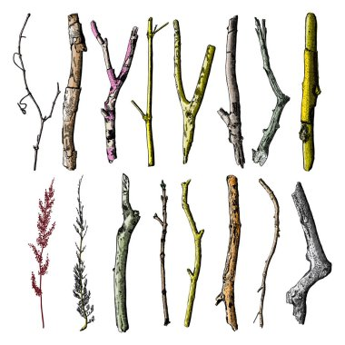 Hand painted twig set