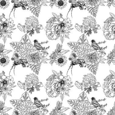 Bird and flowers seamless pattern
