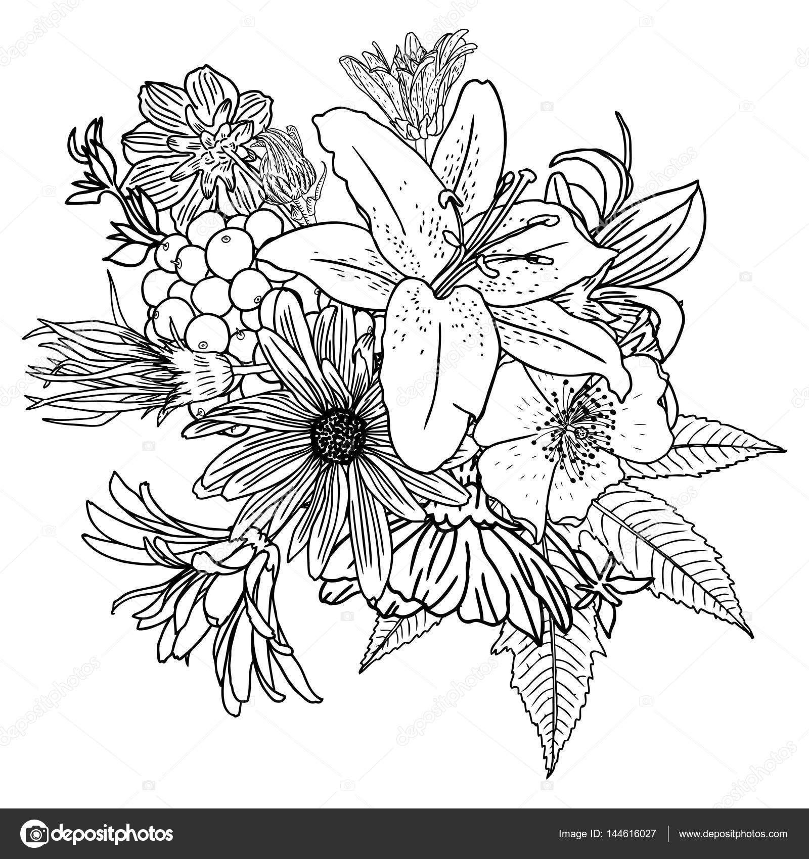 Flower Line Drawing Vintage : Flower bouquet line drawing imgkid the image