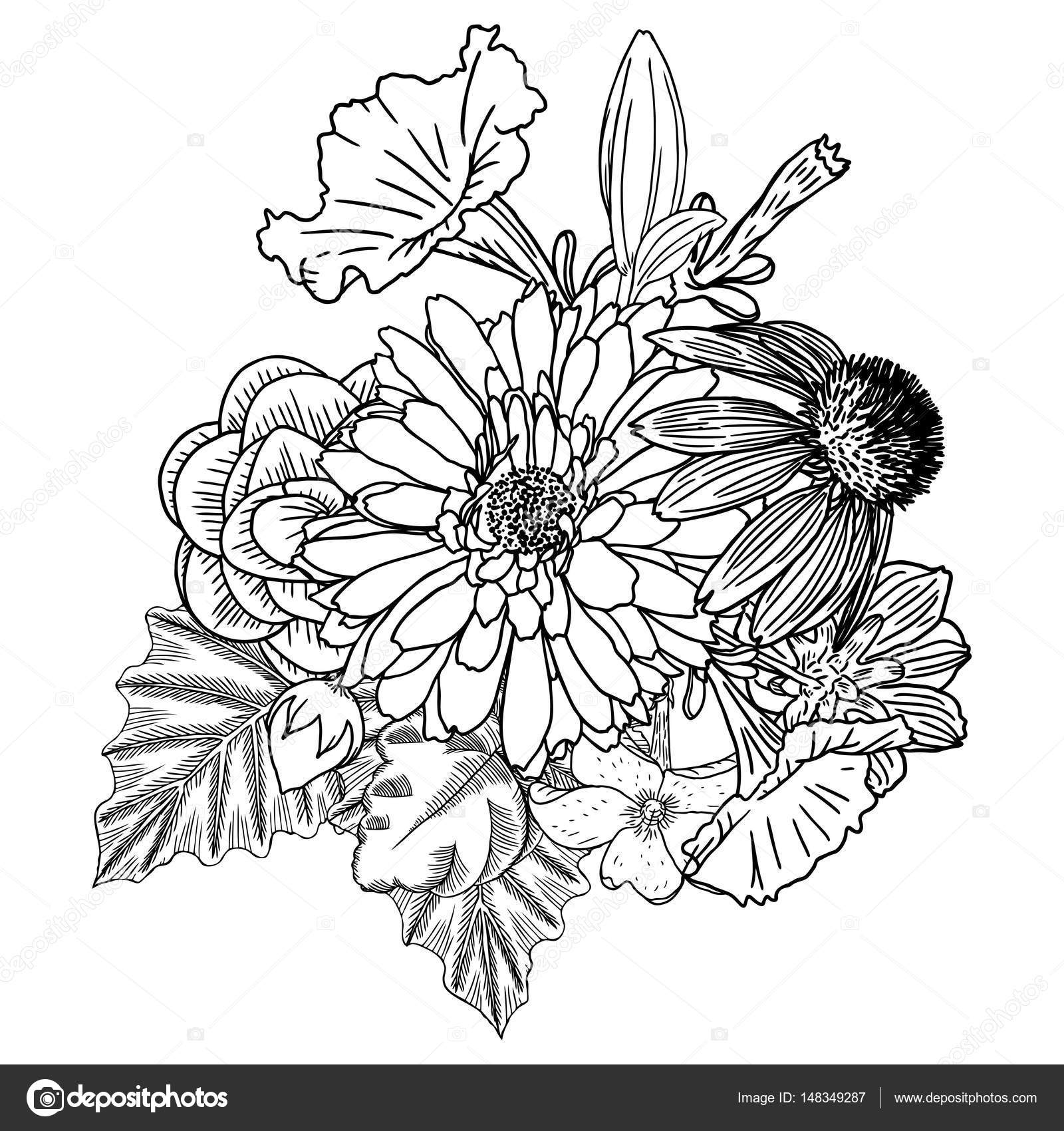 Bouquet of different hand drawn flower stock vector goldenshrimp flowers bouquet of different hand drawn flowers vintage black white and isolated can be used as invitation greeting card print vector mightylinksfo