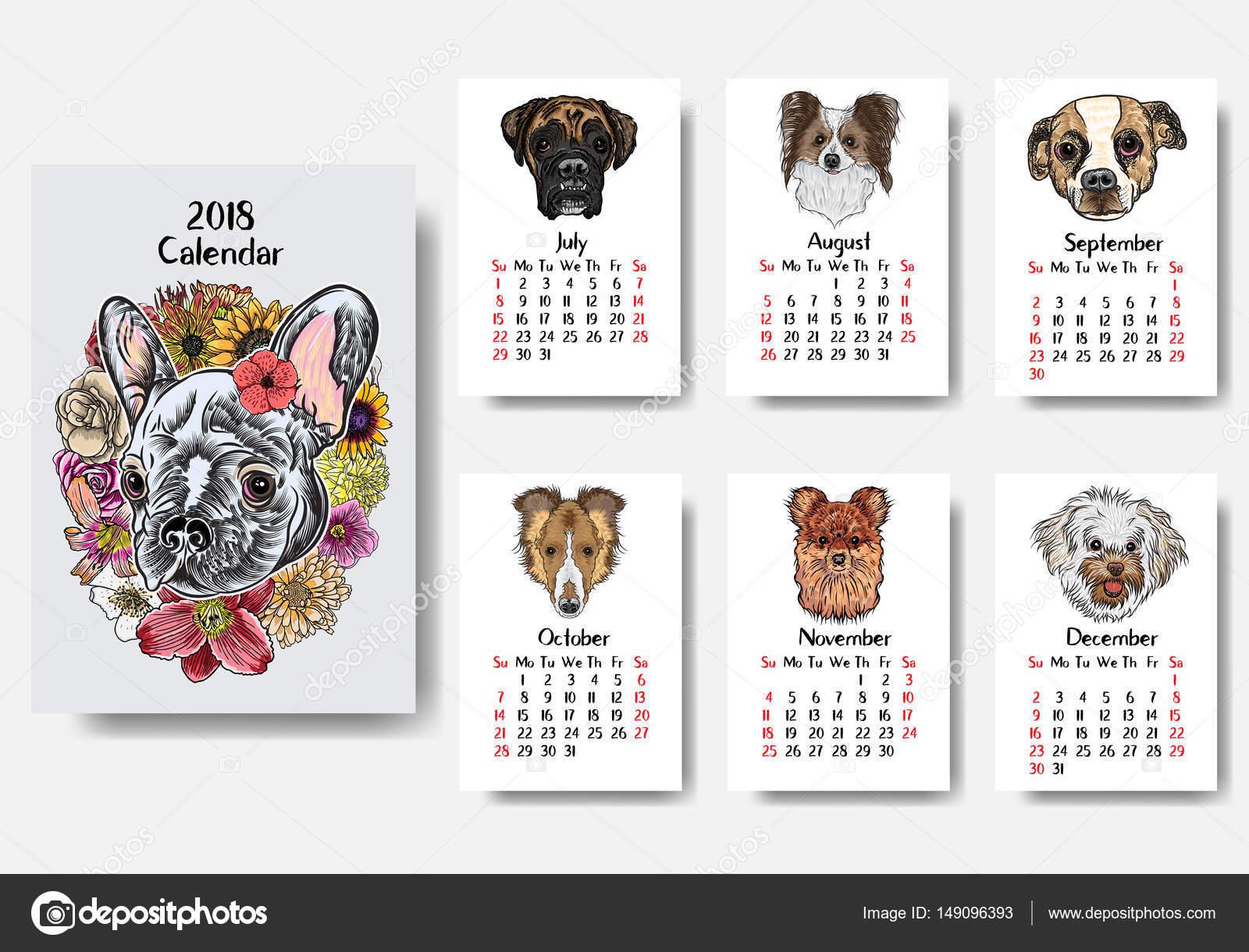 projeto de calendario 2018 engracado cao feliz vetores de stock goldenshrimp 149096393