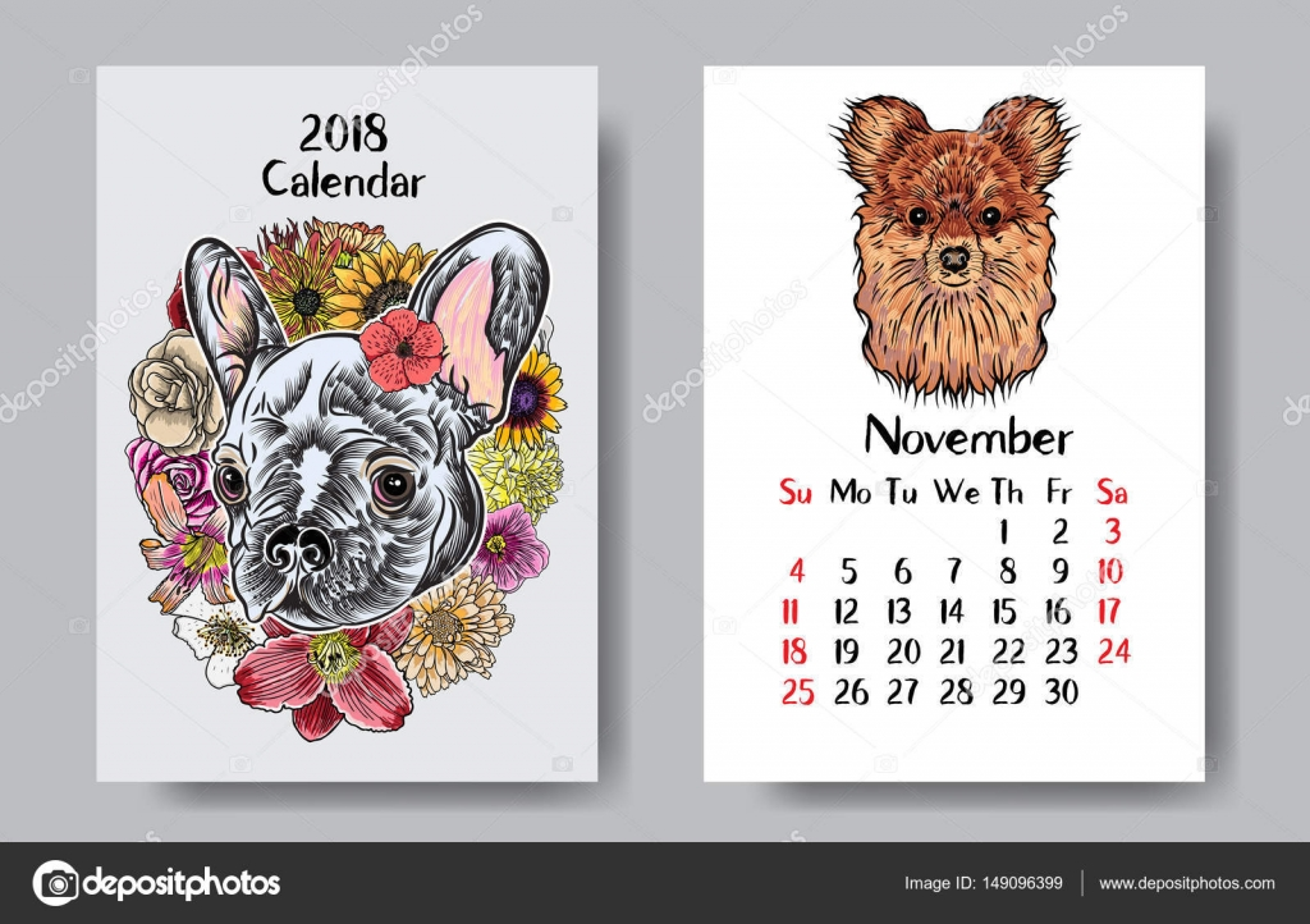 Download Funny Happy Dog Calendar 2018 Design Stock Illustration
