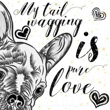 Girl French Bulldog illustration print