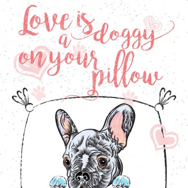 French Bulldog Dog with text template