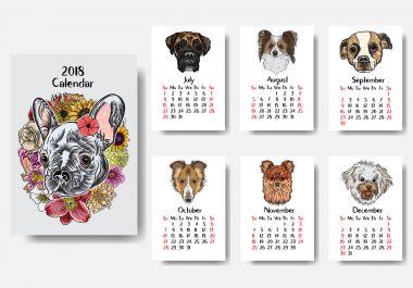 Funny happy dog calendar 2018 design