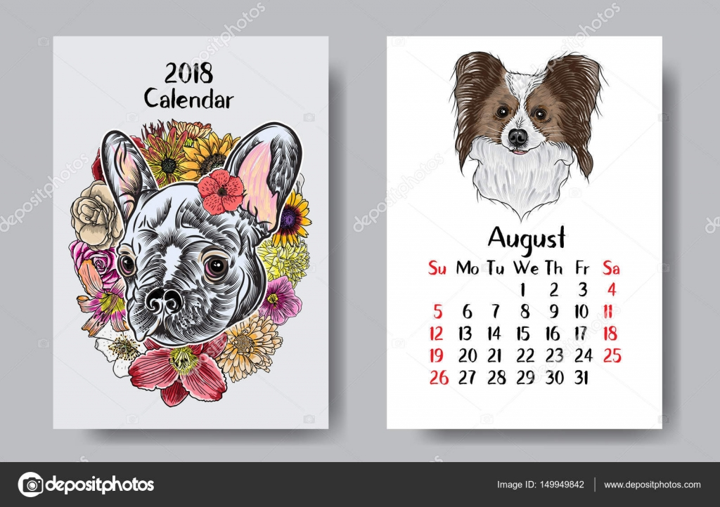 Diseño de calendario 2018 divertido perro feliz — Vector de stock ...