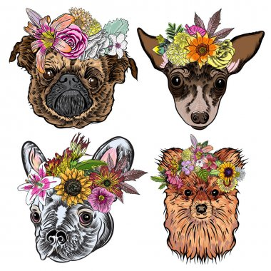 Cartoon dogs with exotic floral wreaths