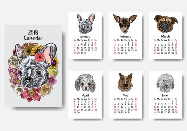 Calendar 2018 with Cute dog