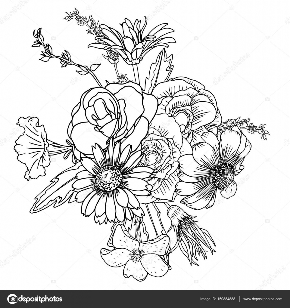 Drawing of spring bouquet with various flowers stock vector drawing of spring bouquet with various flowers stock vector izmirmasajfo