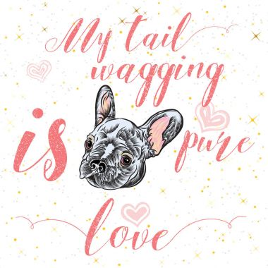 Girl French Bulldog illustration print