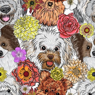 Seamless pattern with cute dogs