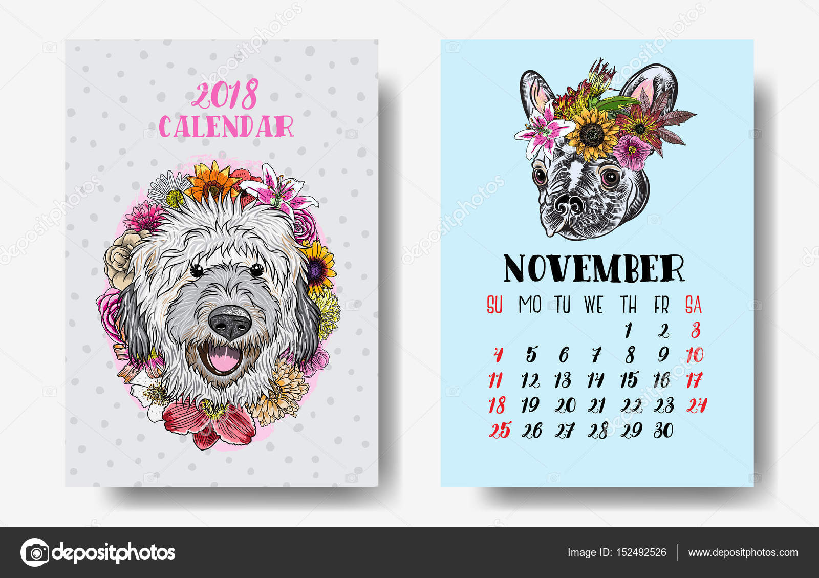 calendar 2018 monthly cute dogs 2018 chinese new year with text and dog zodiac and flowers decoration vector design vector by goldenshrimp