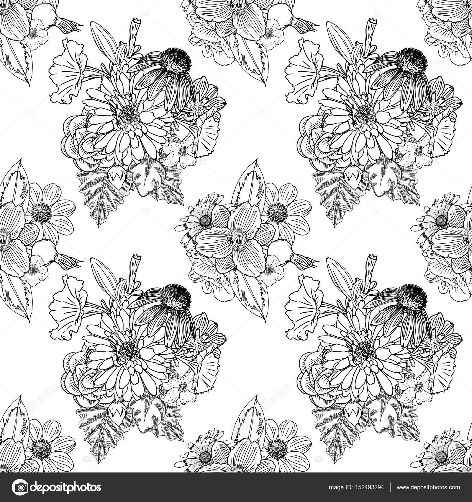 Patrón de flor blanco y negro — Vector de stock © goldenshrimp ...