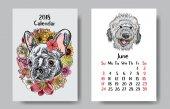 Fotografie Návrh kalendáře 2018 legrační šťastný pes