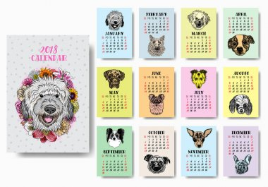 Funny happy dog calendar 2018 design