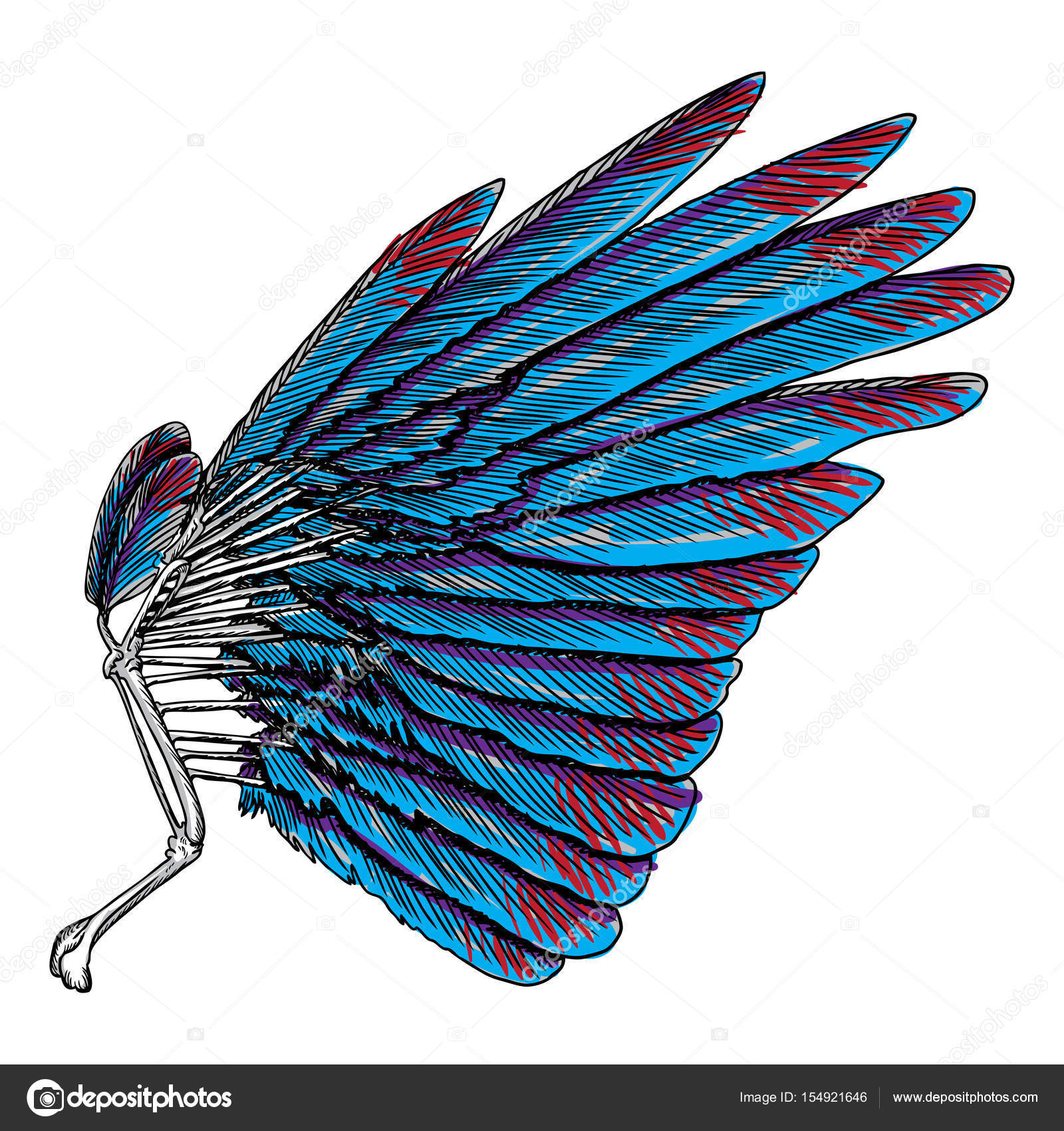 Colorful wing drawing stock vector goldenshrimp 154921646 symbolism of lightness spirituality heaven and imagination freedom and victory woodcut vintage style wing hipster tattoo or vintage body art concept buycottarizona