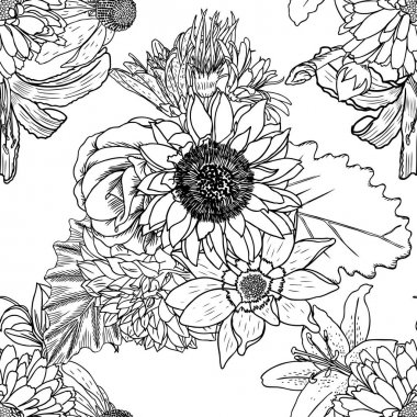 Floral drawing seamless pattern