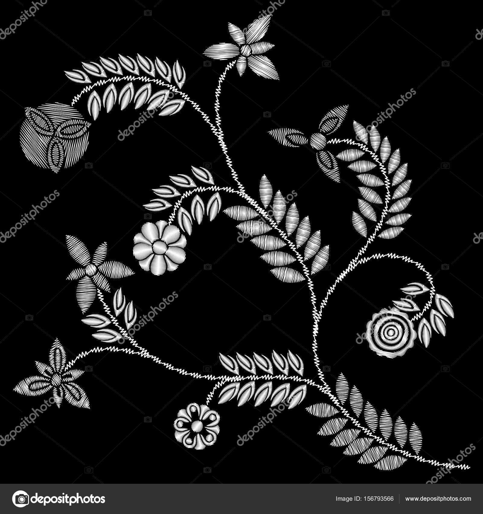 Floral embroidery pattern — Stock Vector © goldenshrimp #156793566