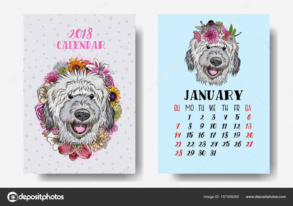 Design Voor Honden : Kalender maandelijks met leuke honden u stockvector