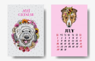 Calendar 2018 monthly with cute dogs