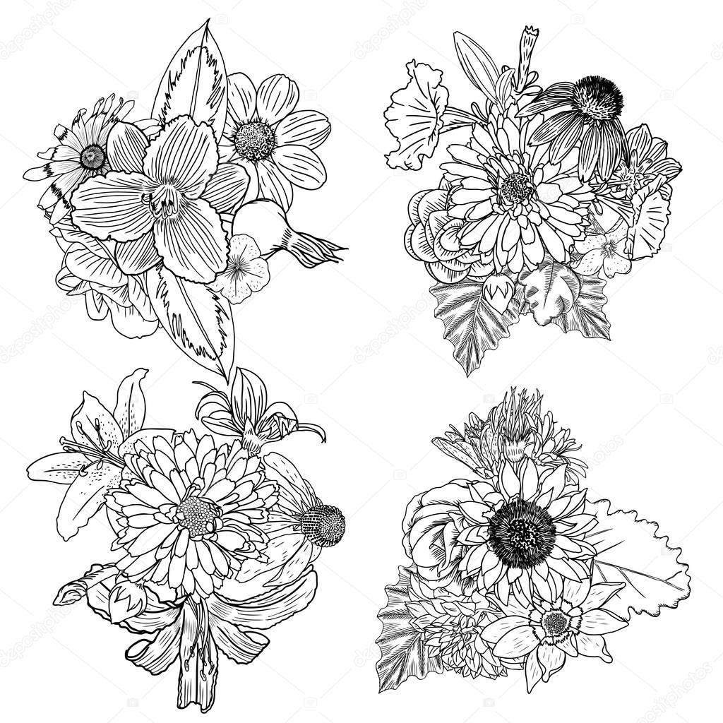 Set Of Flower Bouquets