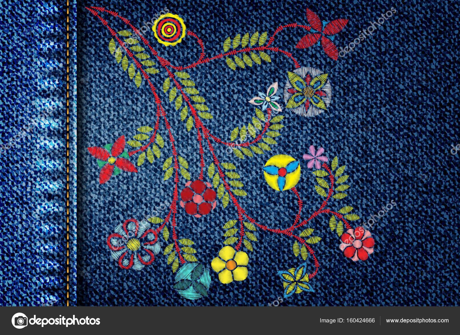 patrón floral bordado — Vector de stock © goldenshrimp #160424666