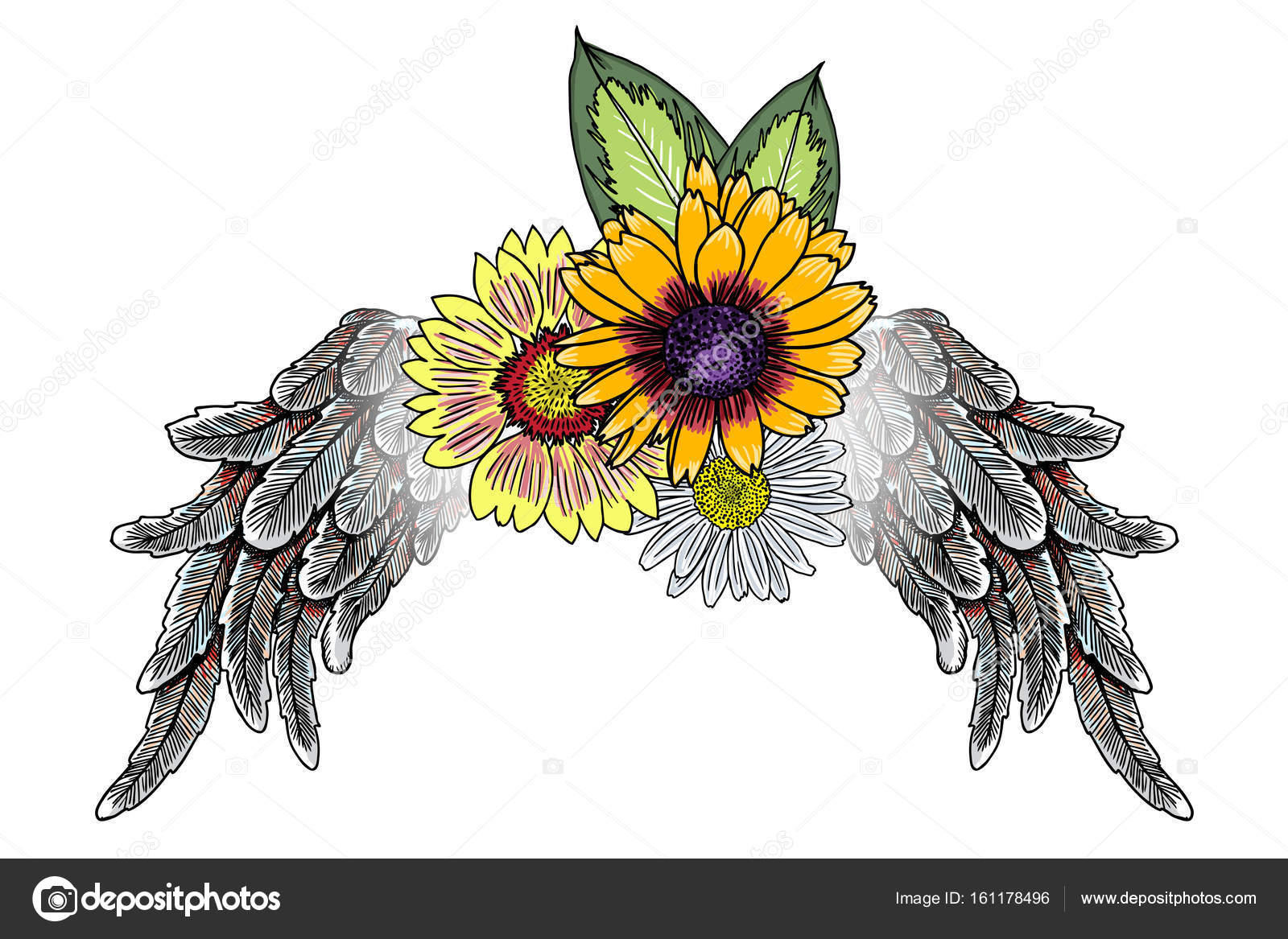 Flowers With Angel Wings Stock Vector Goldenshrimp 161178496