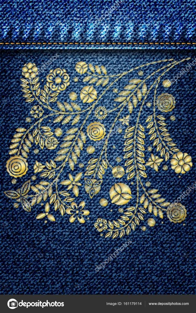 Spitze Blume Stickerei auf jeans — Stockvektor © goldenshrimp #161179114