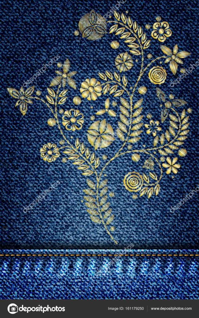 Spitze Blume Stickerei auf jeans — Stockvektor © goldenshrimp #161179250