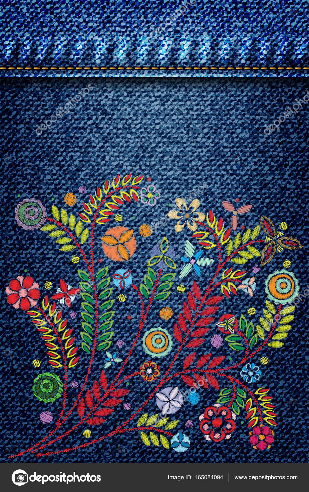 f15473d86 Textura mezclilla con bordado de flores — Archivo Imágenes ...