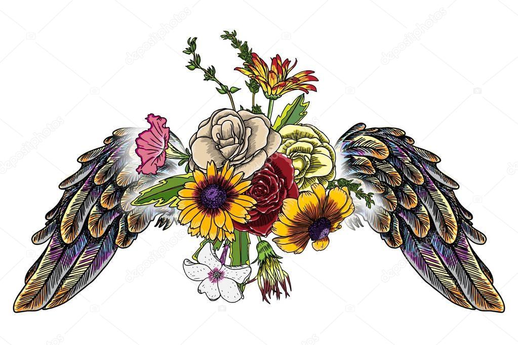 Cherub Rose Wreath Ex Libris - Free Download Angel Wings Frame Clipart  (#1159354) - PinClipart