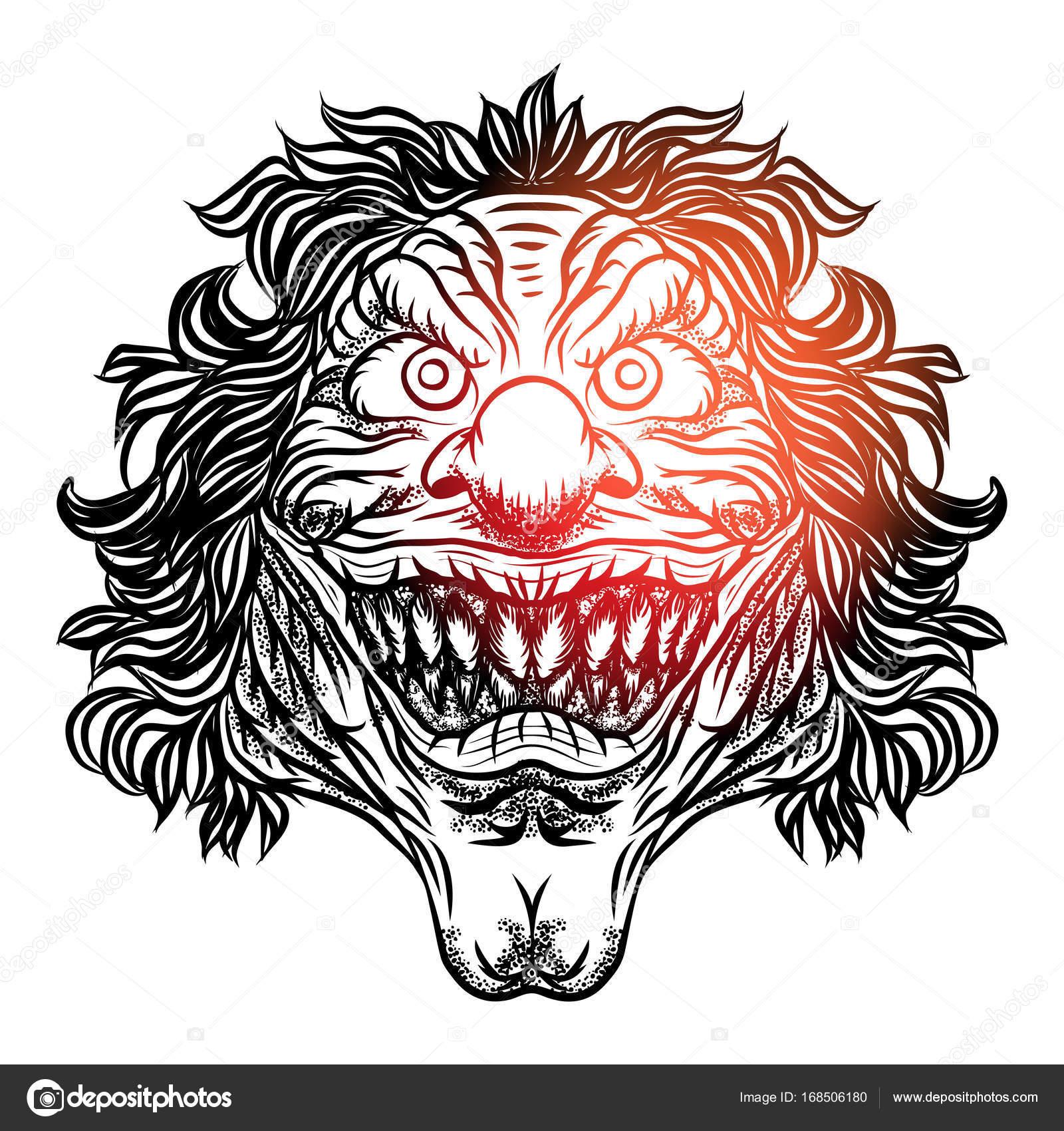怖い漫画ピエロ イラスト ストックベクター Goldenshrimp 168506180