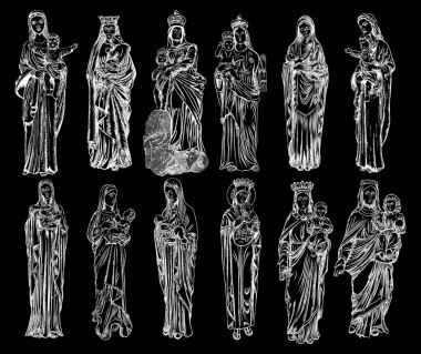 Virgin Mary religious statues set