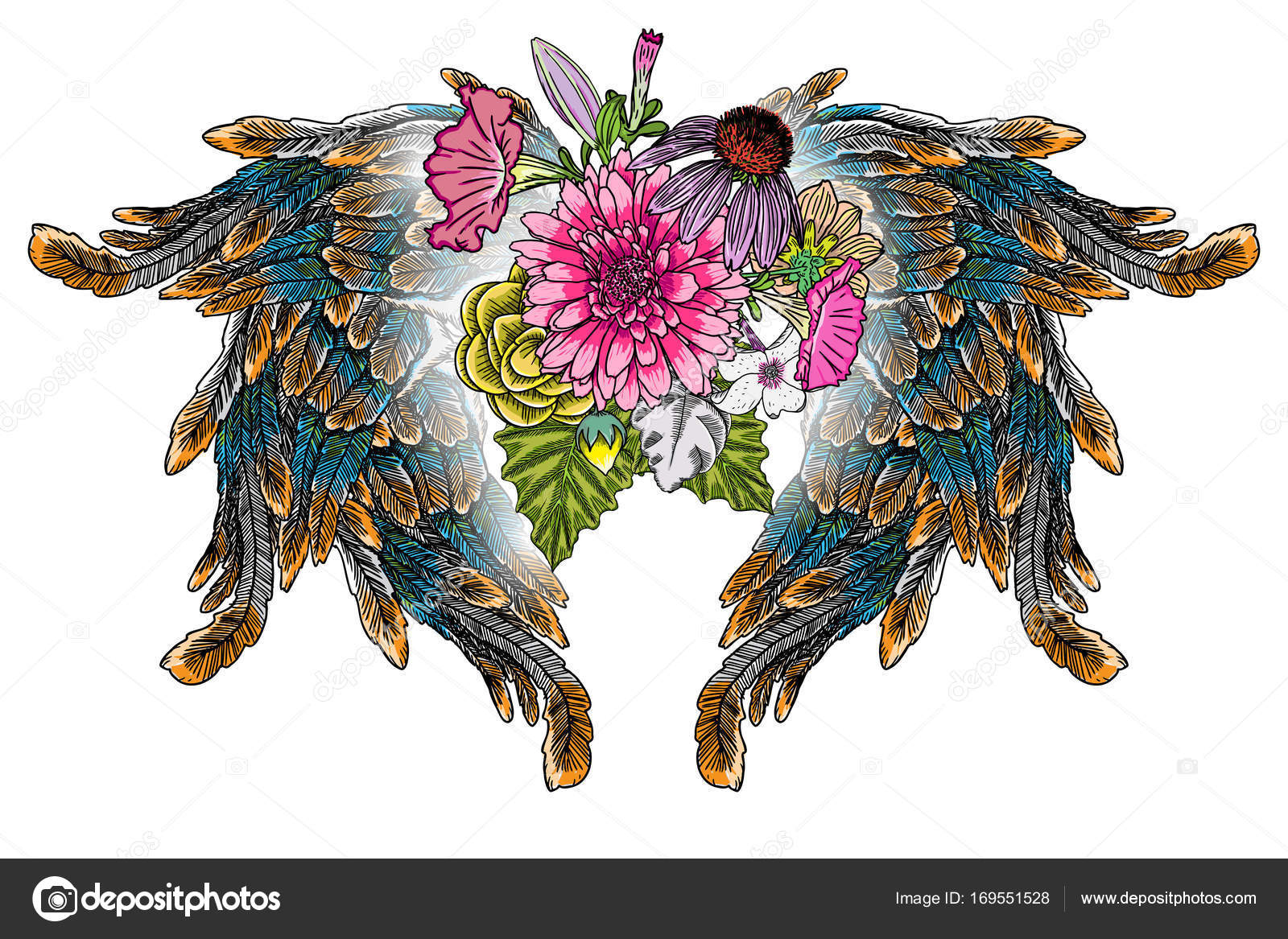 Ornate fashioned wings and flower bouquet — Stock Vector ...