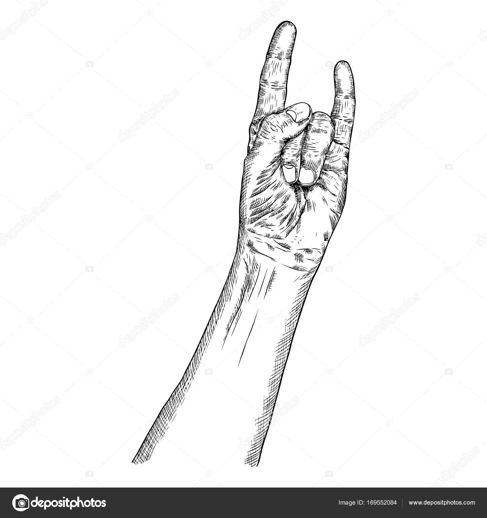 Hand fist raised up symbol stock vector goldenshrimp 169552084 rock and roll hand sign hand drawn man style fist demon symbol male wrist evil finger gesture manly hand showing satan sign boy forearm music sketch biocorpaavc Choice Image