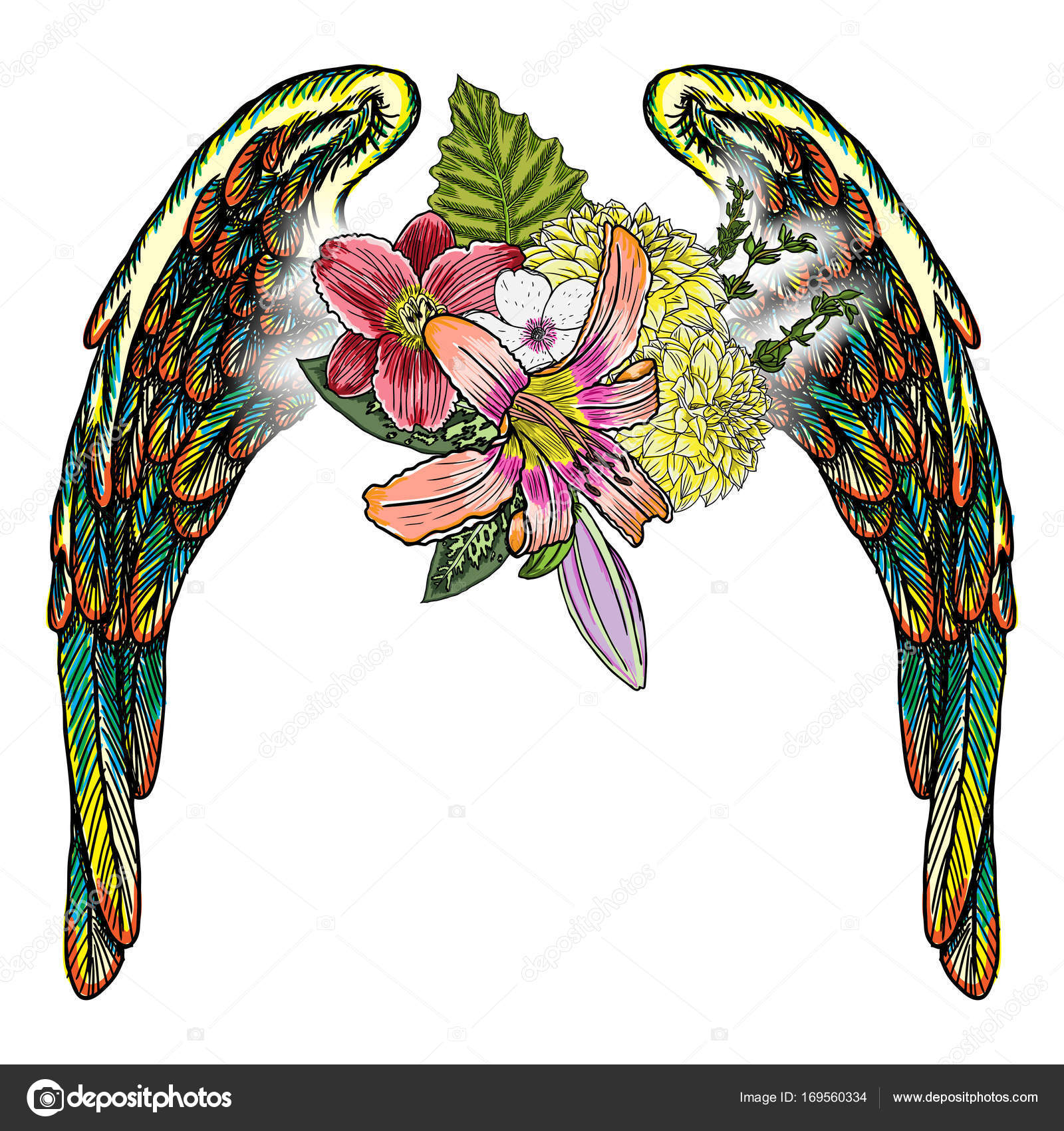 Ornate Fashioned Wings And Flower Bouquet Stock Vector