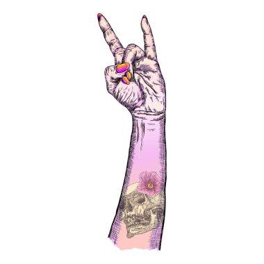 Hand fist raised up symbol
