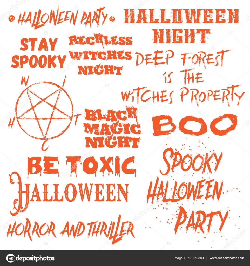 Set Of Halloween Quotes For Posters About Halloween Party And Scary Phrases  For Greeting Card Printable Wall Art Designs And Flyers, Different Font ...