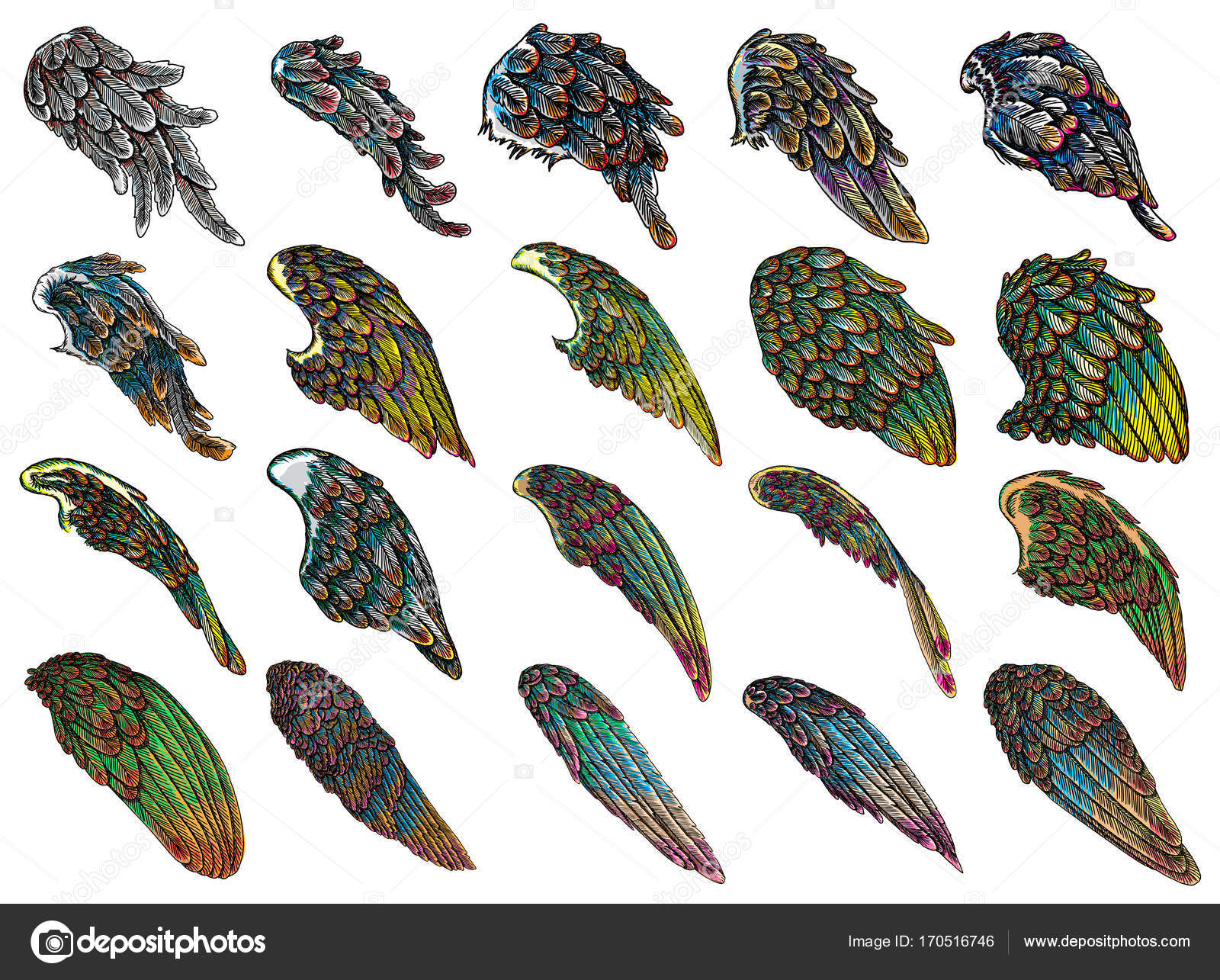 4b5d8ea1d Set of angel or bird colourful wings. Colorful abstract hand drawing sketch,  isolated illustration. Woodcut vintage style wings, hipster tattoo or  vintage ...